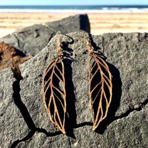 boucles d'oreilles en bois Hoja